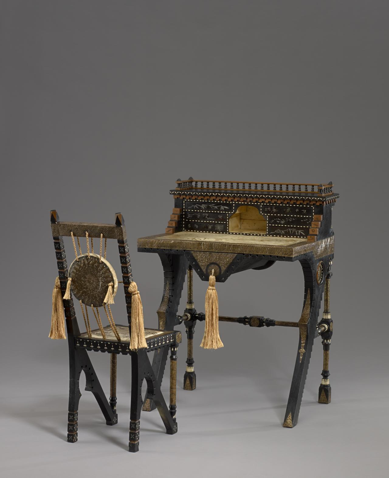 Lady's writing desk and chair