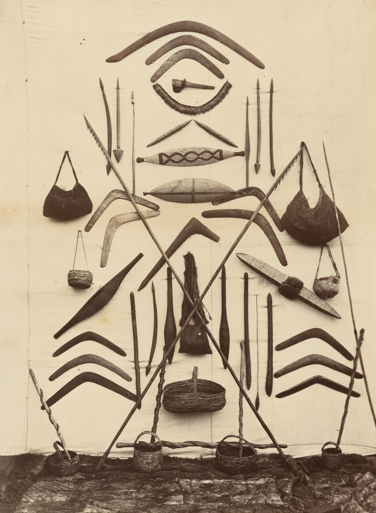 Victorian Aboriginals' war implements, Coranderrk