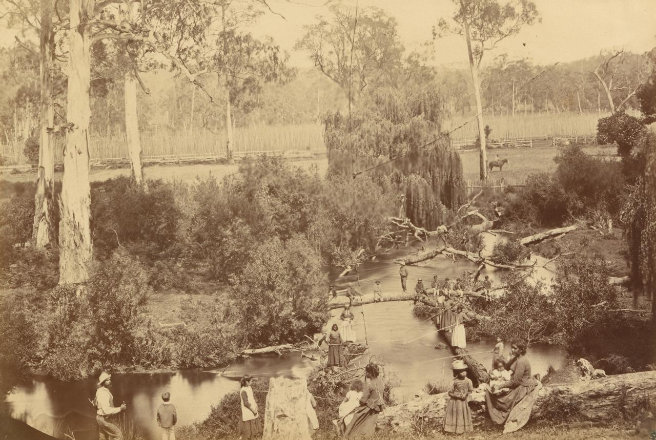 Badger Creek, Coranderrk Aboriginal Station, fishing scene
