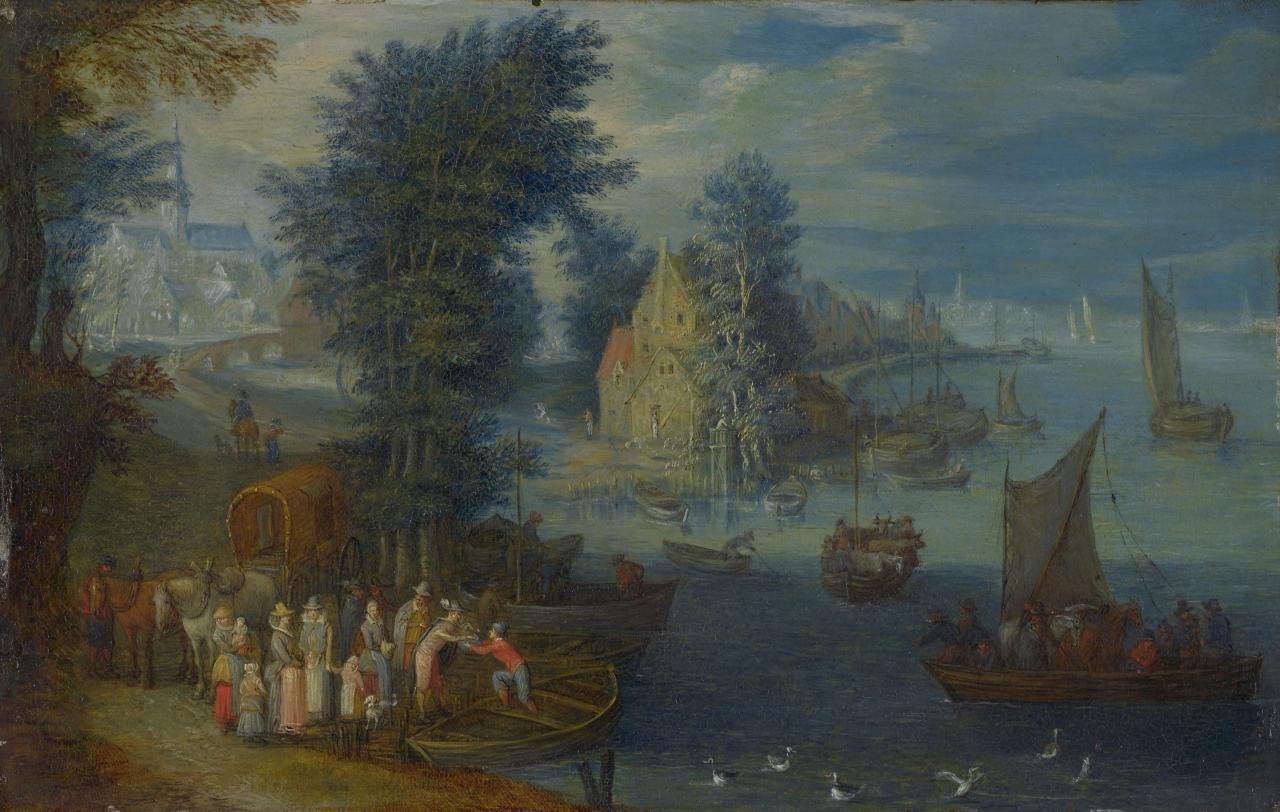 (River landscape with a village)