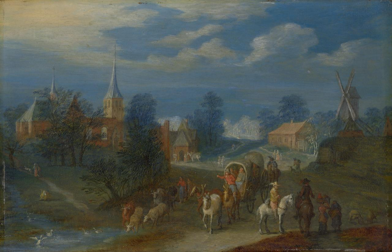 (Village landscape with boats and figures)