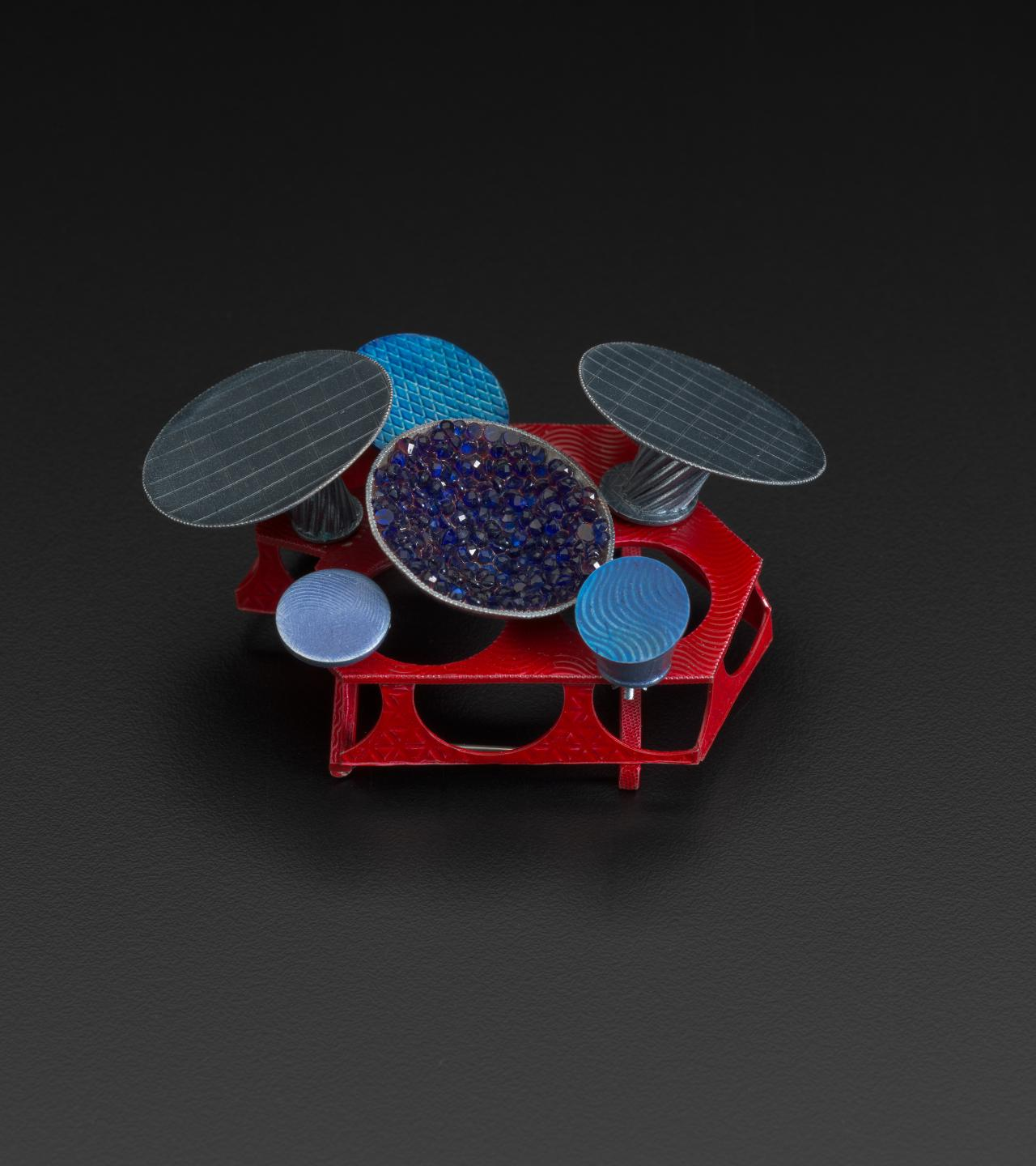 Red blue brooch