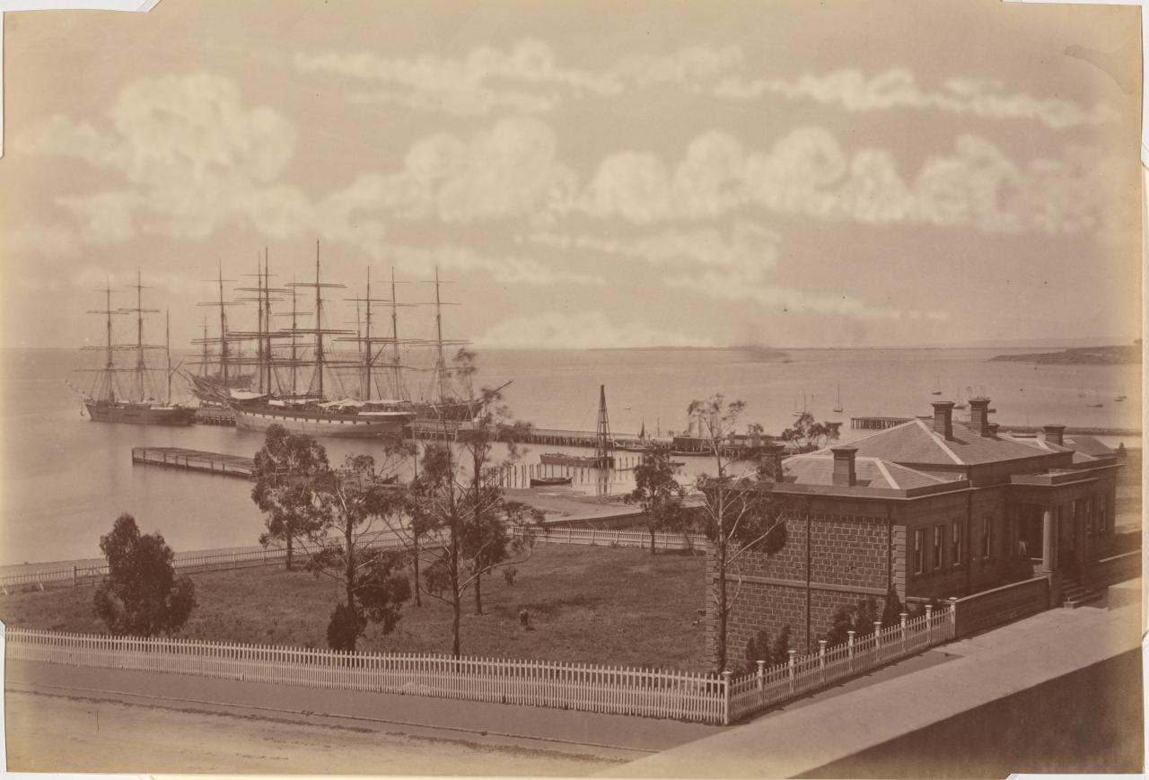 Wool ships and Customs House, Geelong