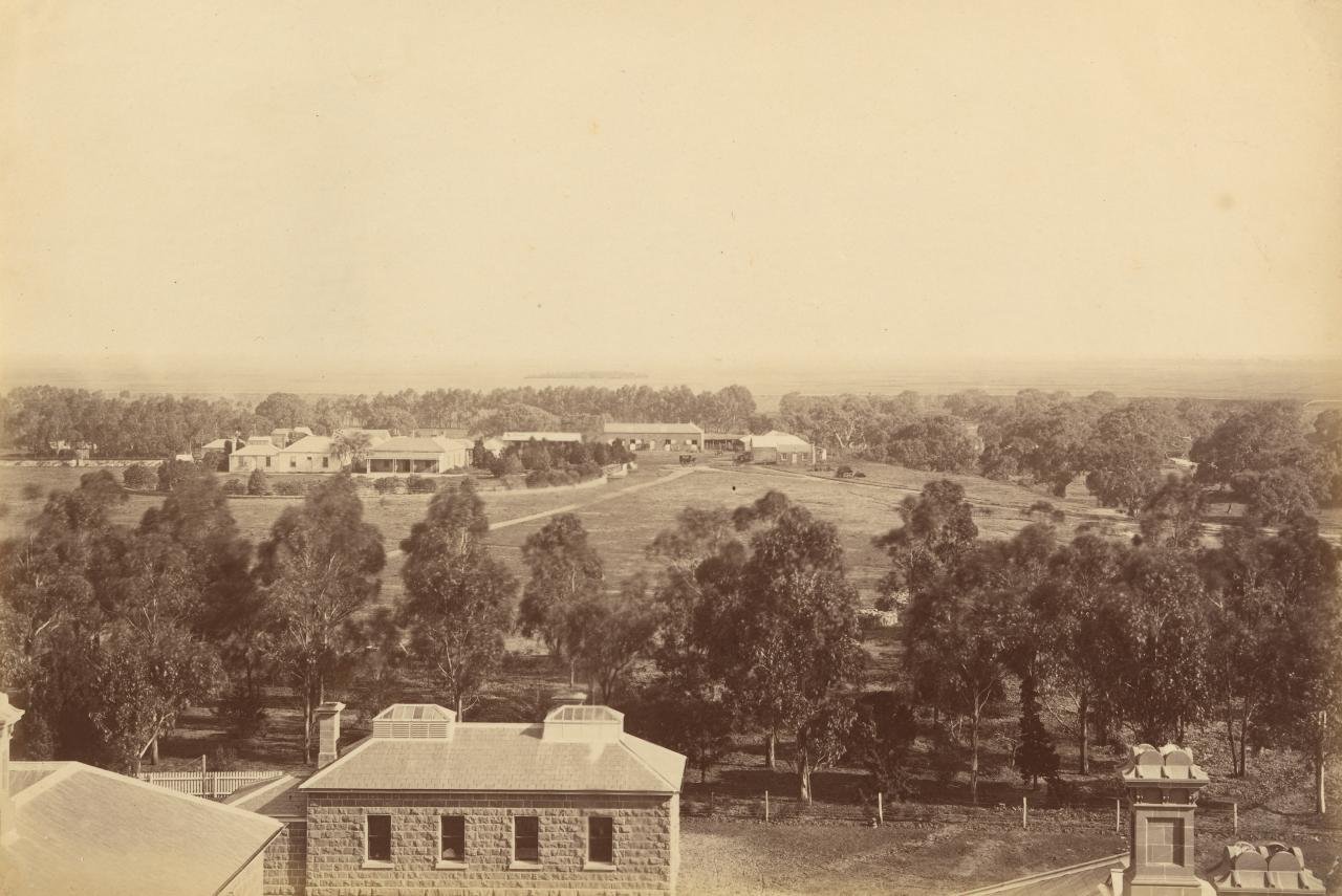 Bird's-eye view of old homestead, Werribee Park (As seen from the mansion tower)