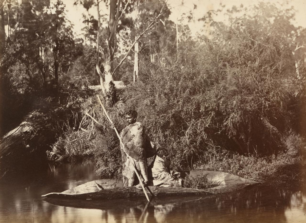 Aboriginal men in canoe, Coranderrk Aboriginal Station