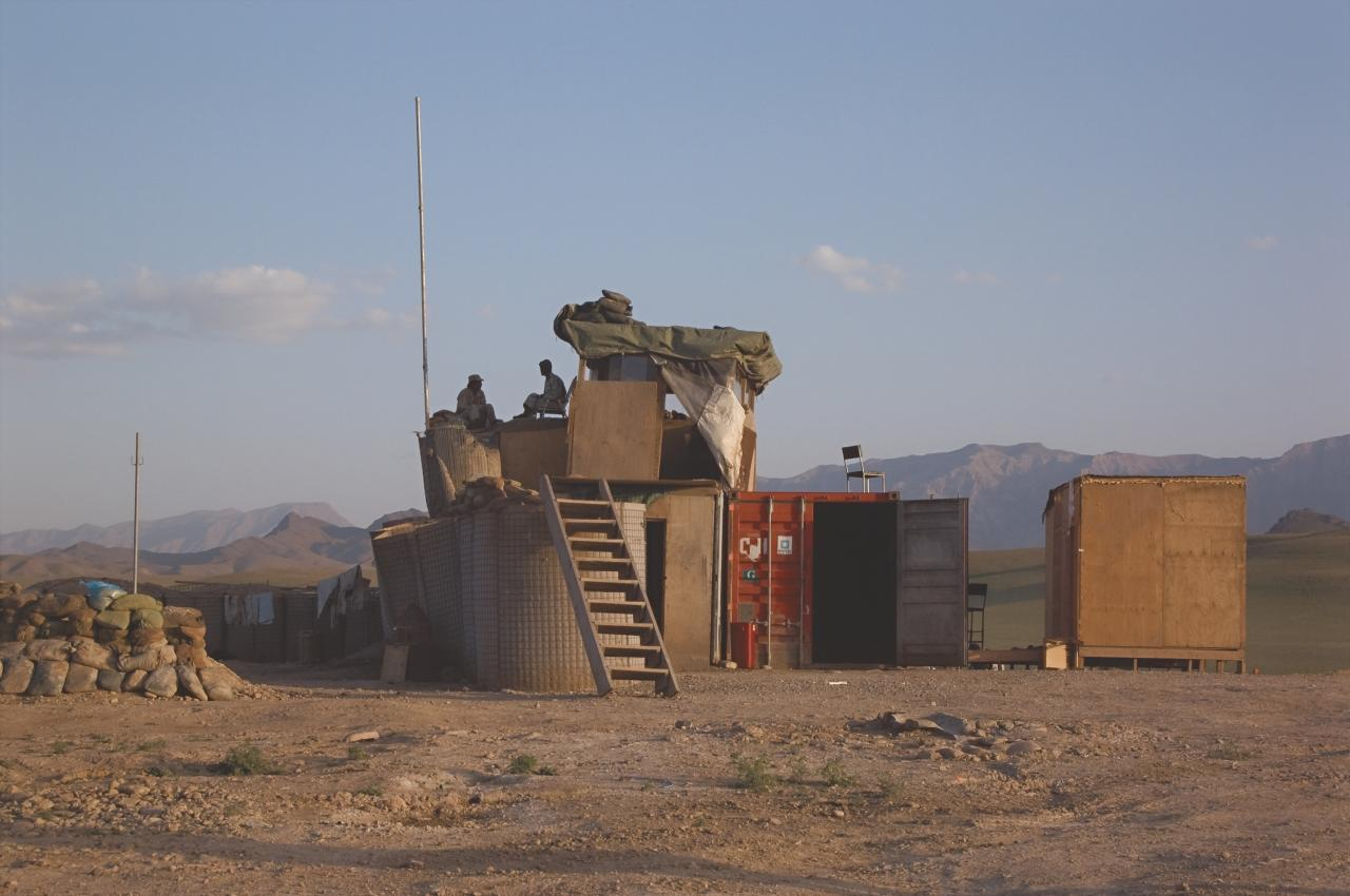 Afghan National Army perimeter post with chair, Tarin Kowt Base, Uruzgan Province, Afghanistan