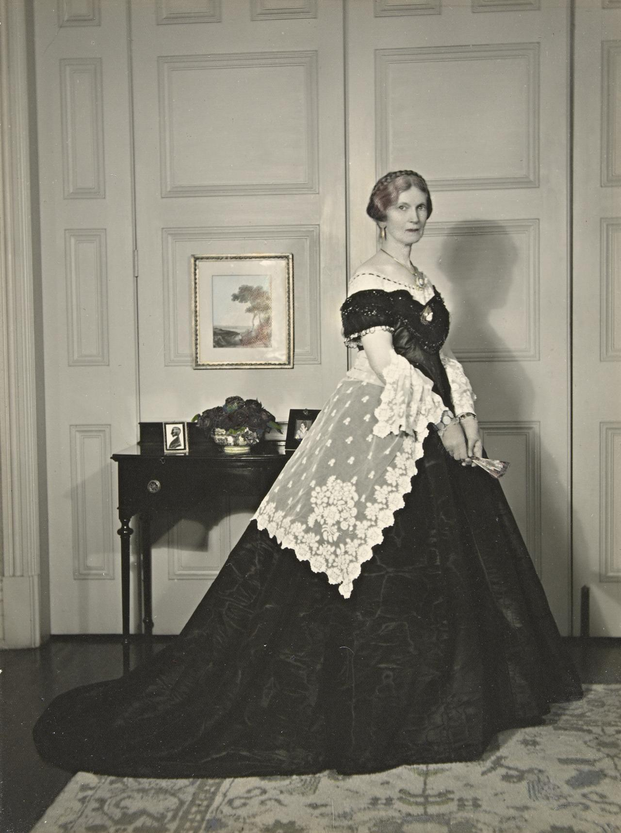 Mrs E. W. Outhwaite dressed as Mrs David Thomas, attending the Pioneers' Ball for the Victorian Centenary