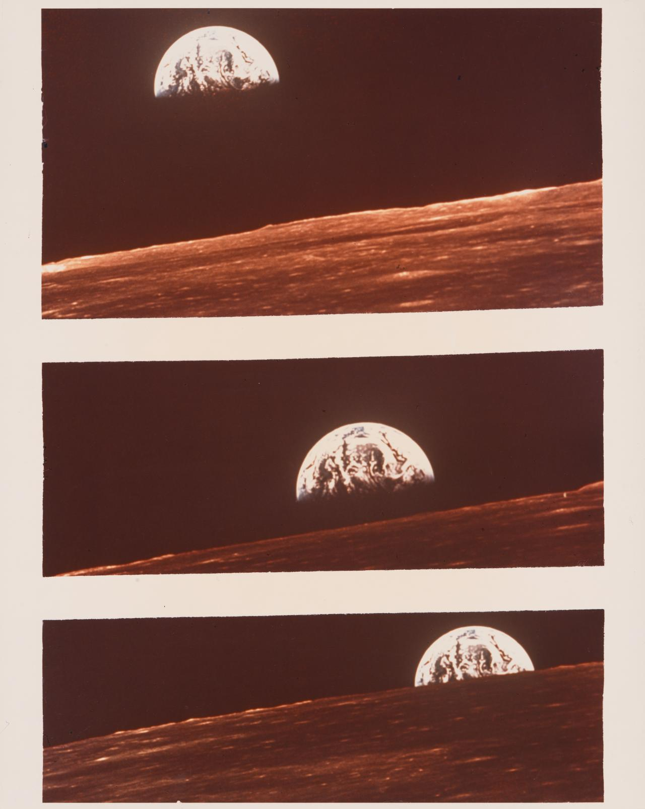 Sequence of earth rise over moon's horizon taken from Apollo 10 lunar
