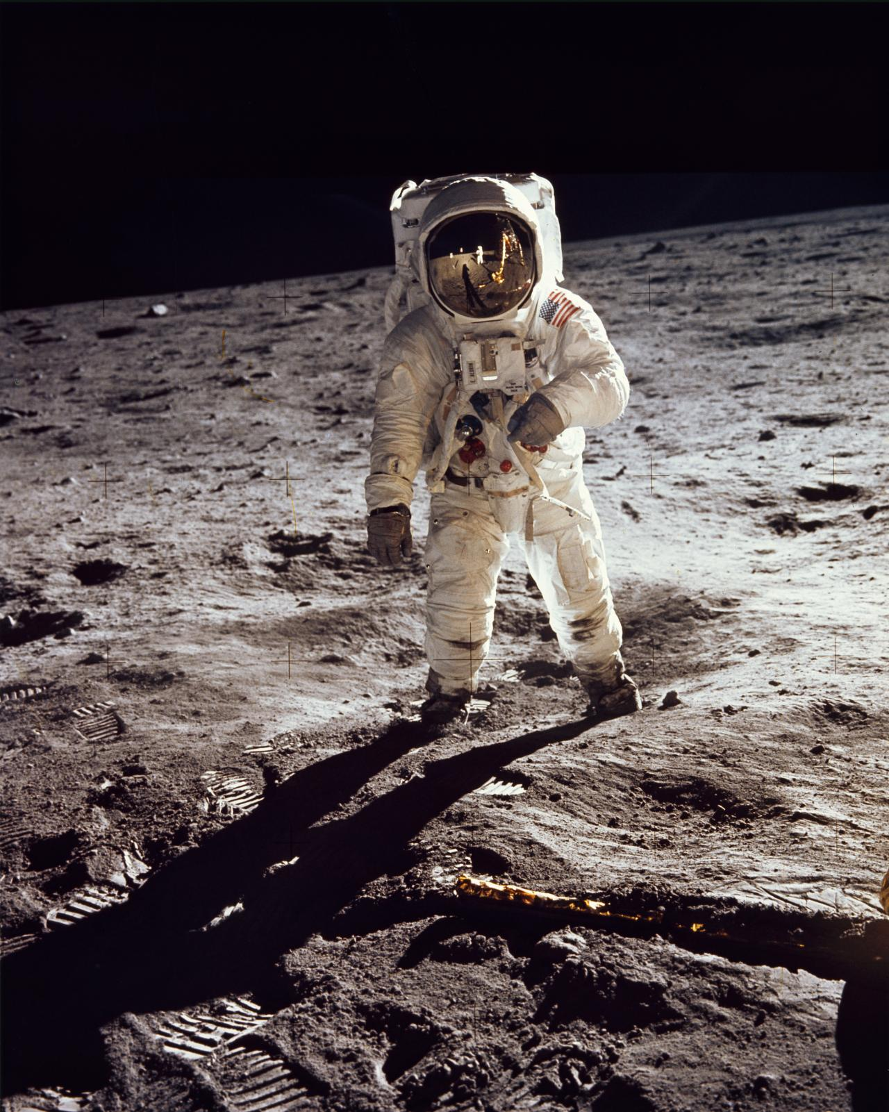 Astronaut Edwin E. Aldrin Jr., walks on the surface of the moon