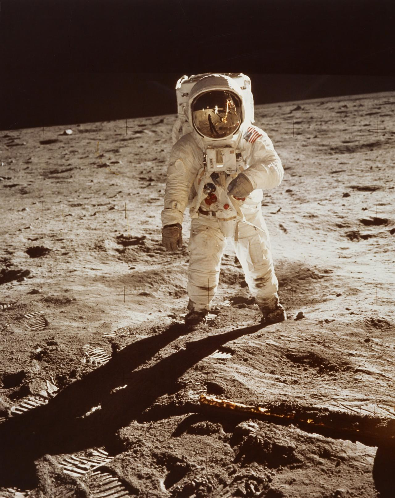 Astronaut Edwin E. Aldrin, Jr., walks on the surface of the moon