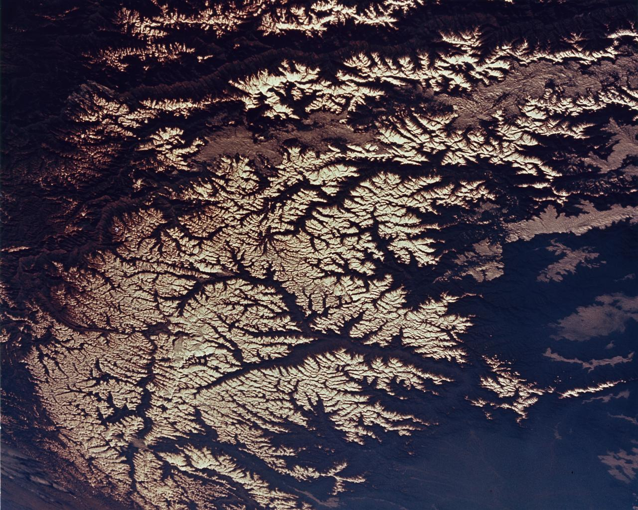Astronauts view of the Hindu Kush range in the Himalayas