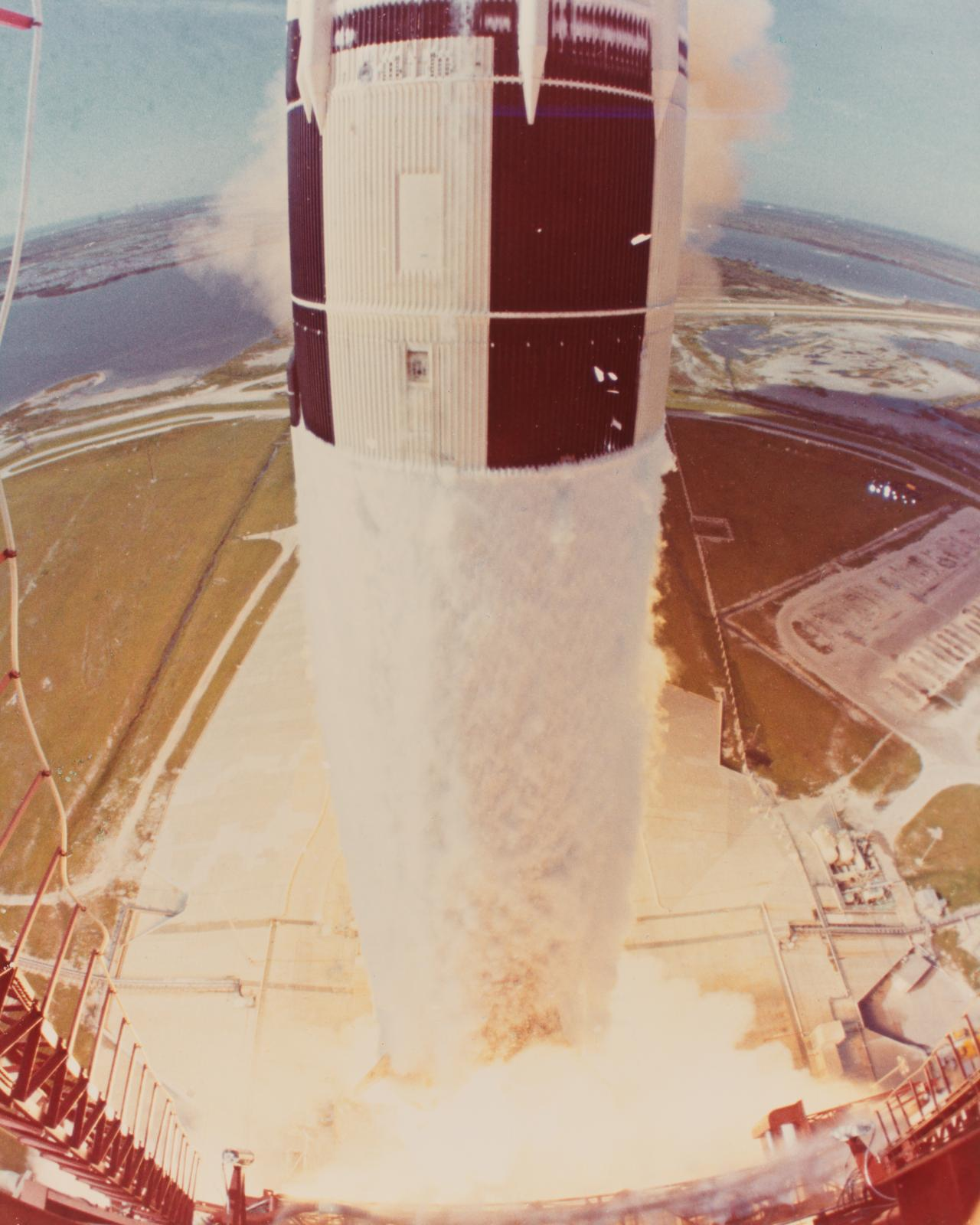 Apollo 15 lift-off viewed from 360 foot level of mobile launcher