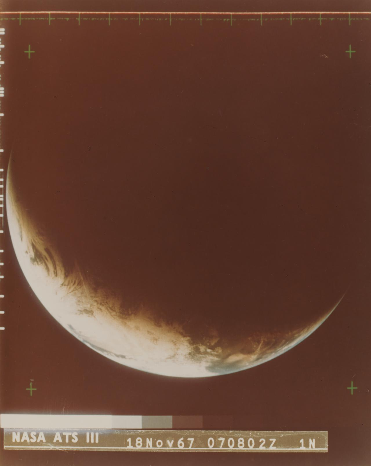 Earth: section of sunrise to sunset sequence, 18 November 1967