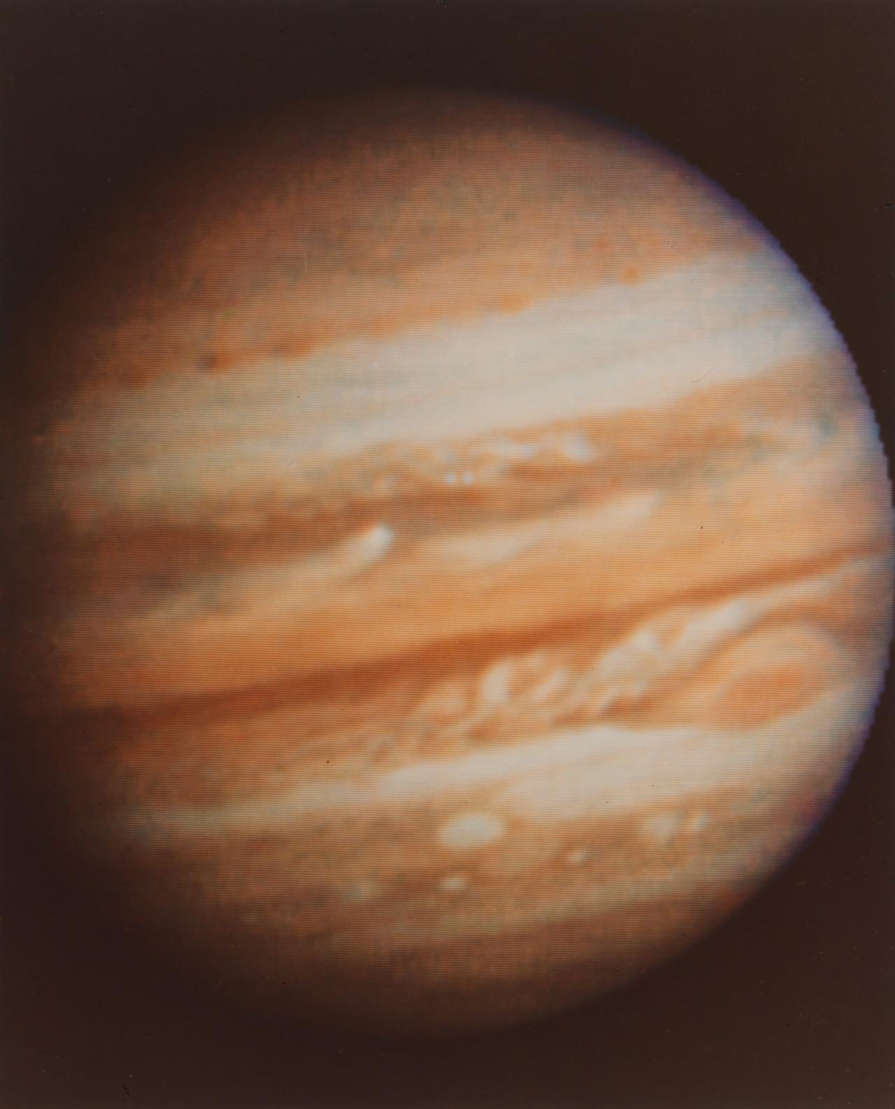 Voyager 1 image of Jupiter, taken 10 December 1978, showing Great Red Spot and turbulent atmosphere