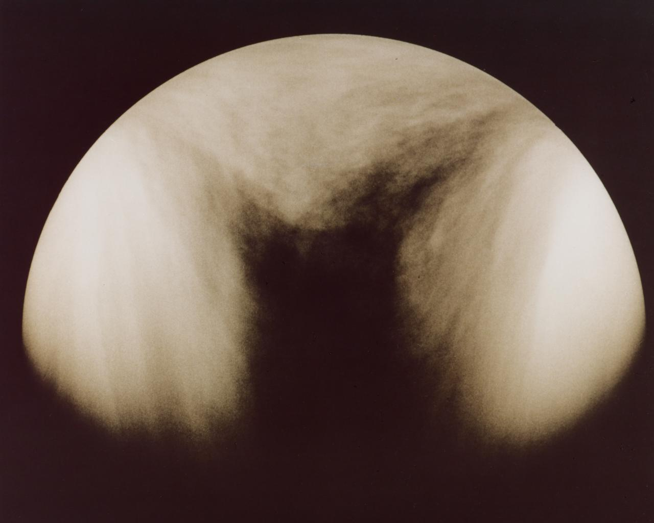 10th January 1979 image of Venus showing dark, horizontal Y feature