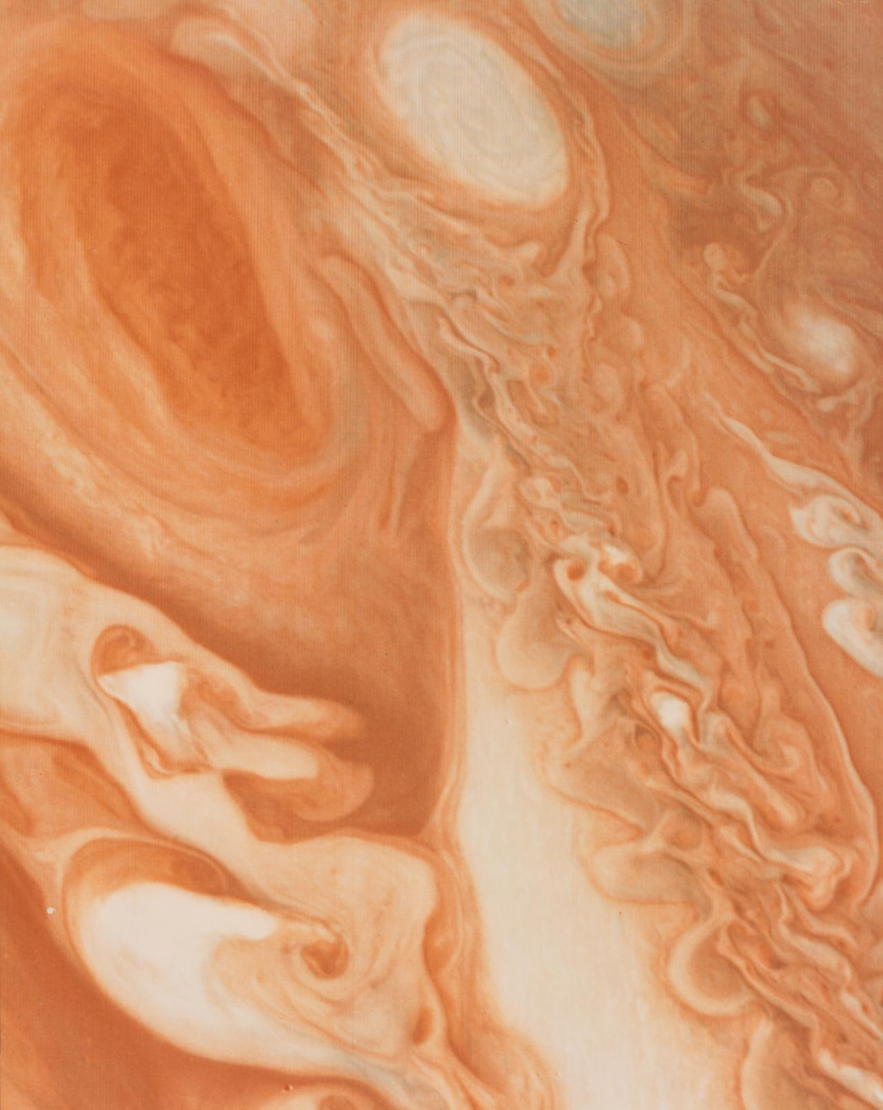 Voyager 1 view of Jupiter on 1 March 1979, showing Great Red Spot and turbulent area to its west