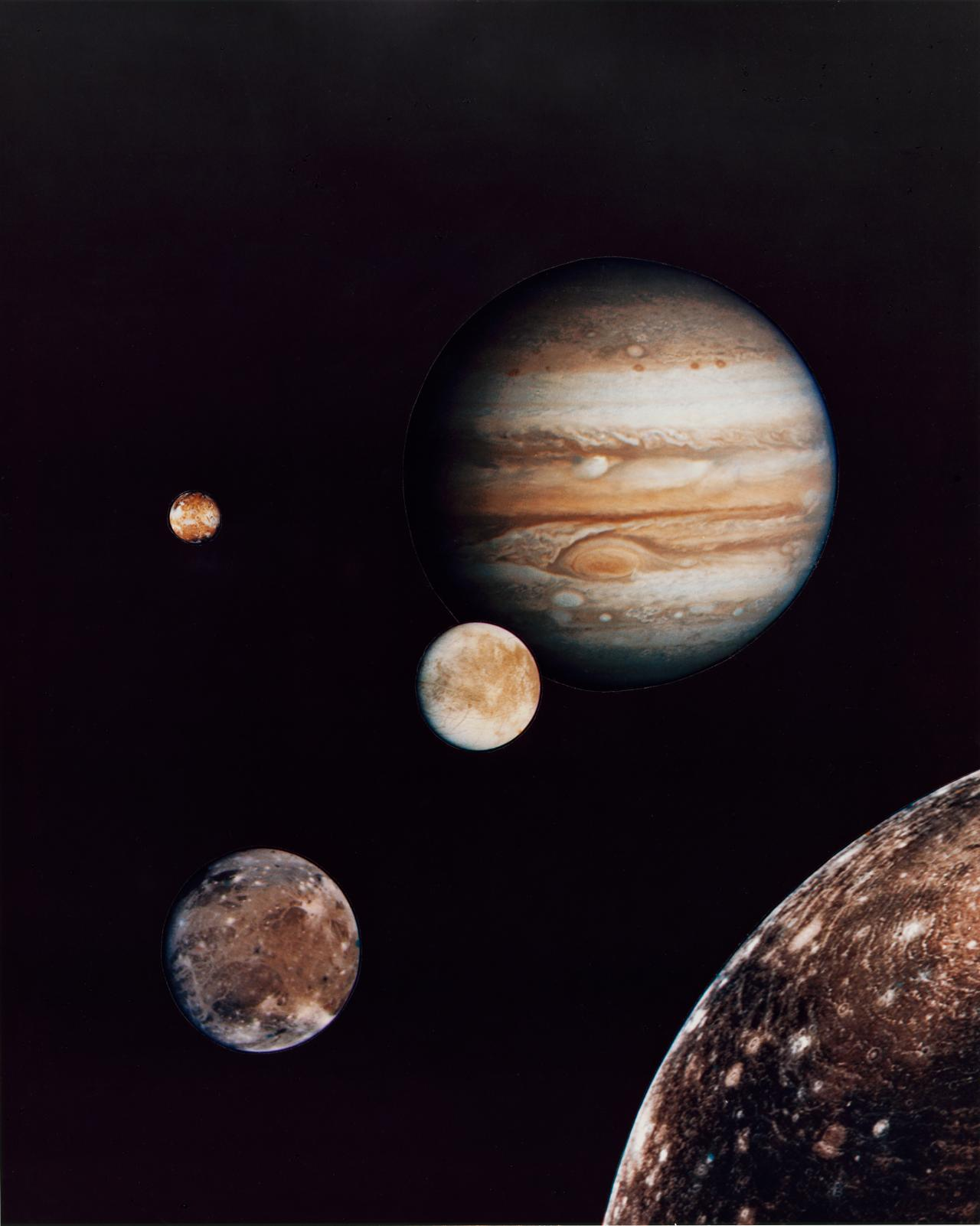 Photo collage of Jupiter and its four largest moons; from early March Voyager 1 photos.