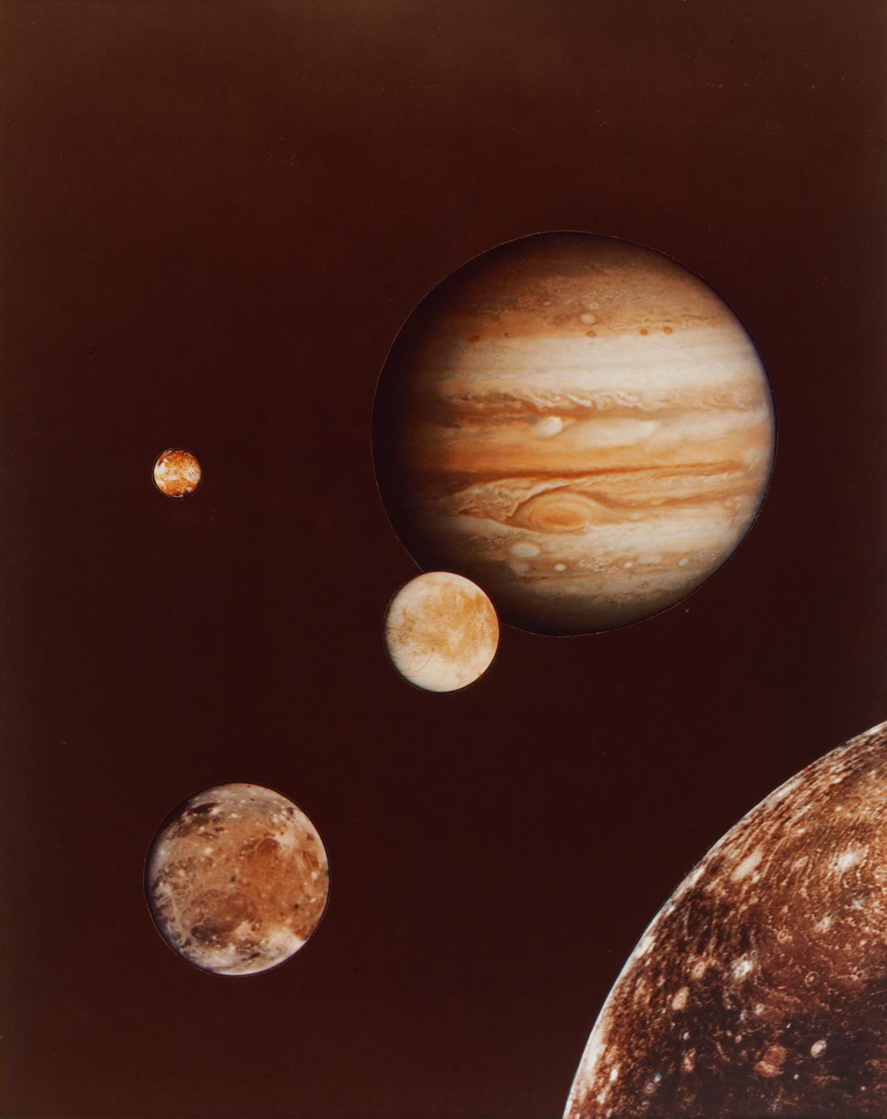 Photo collage of Jupiter and its four largest moons; from early March Voyager I photos