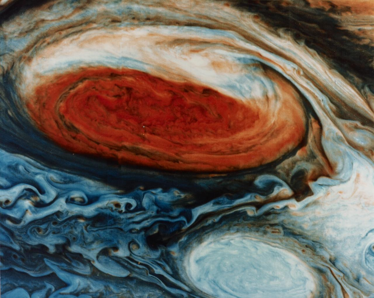 Jupiter. Great Red Spot with white oval in its wake. Voyager 1