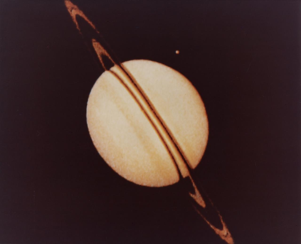 Best yet view of Saturn and its rings, returned by Pioneer II on 29 August 1979