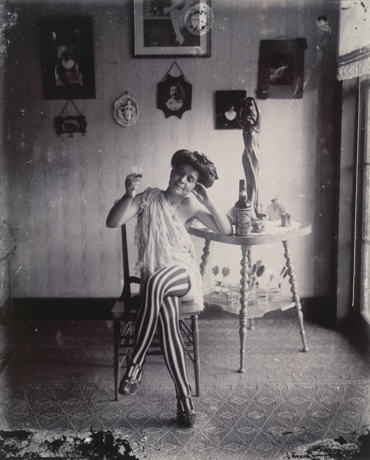 No title (Woman with striped stockings)
