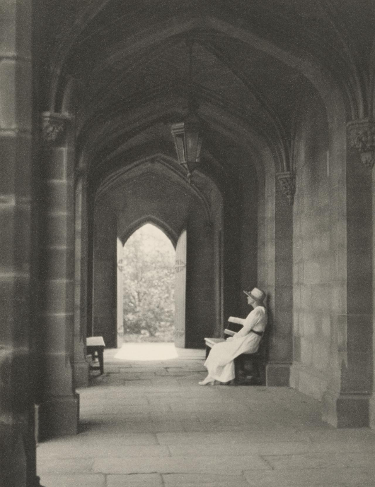Mrs Eaton in the cloisters, University of Melbourne