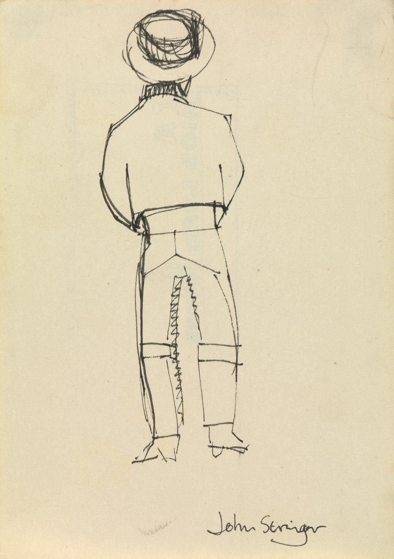 (Rear view of standing man)