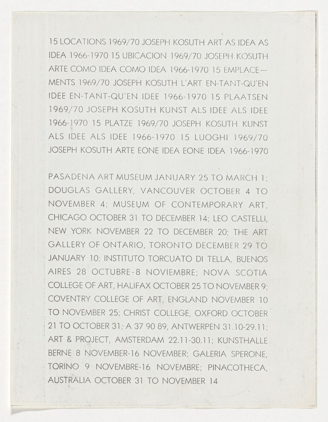 15 locations 1969/70: Joseph Kosuth: Art as idea as idea