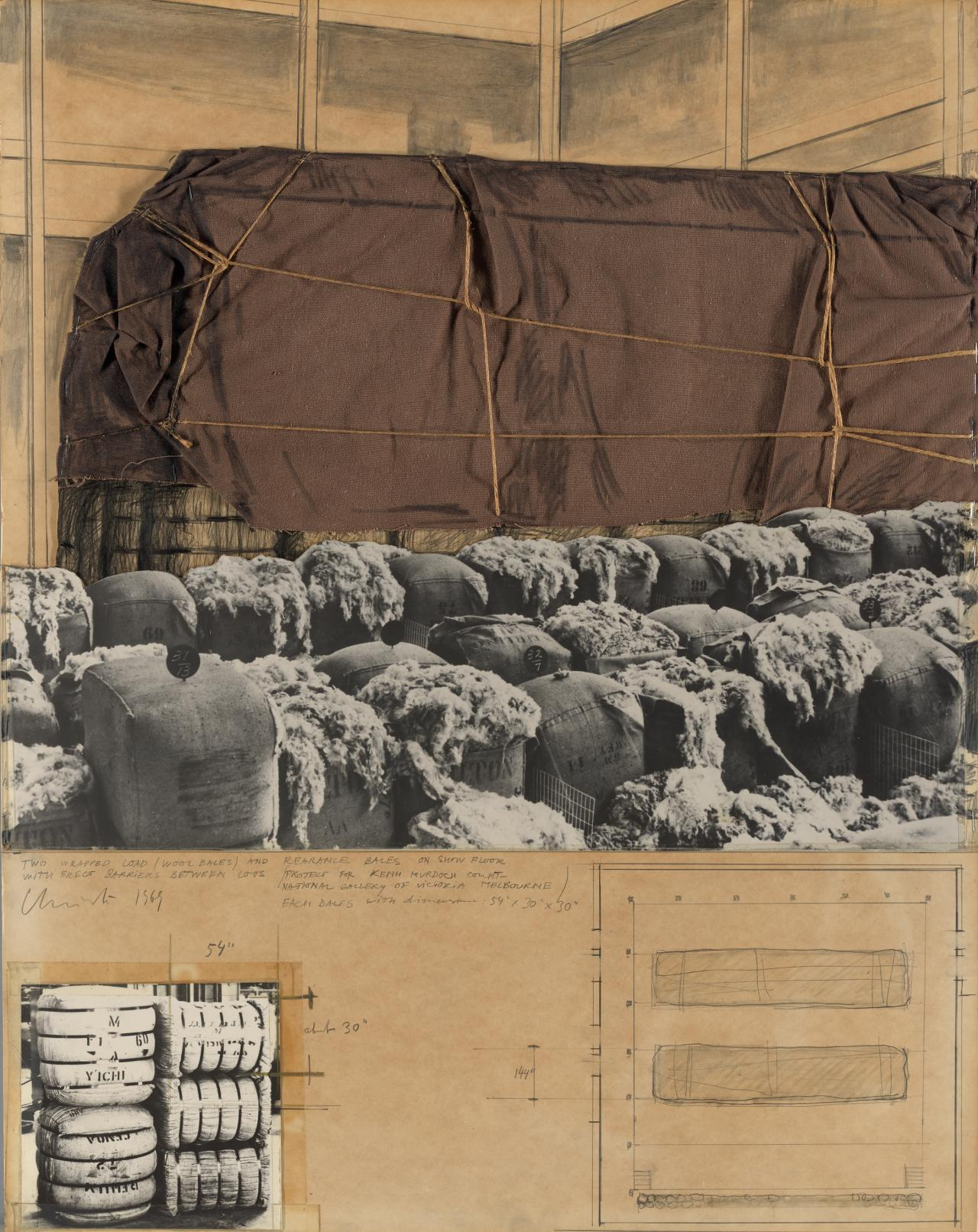 Two Wrapped Load (Wool Bales) and Rearange Bales on Show Floor with Erect Barriers Between Lots (Project for Keith Murdoch Court, National Gallery of Victoria, Melbourne)