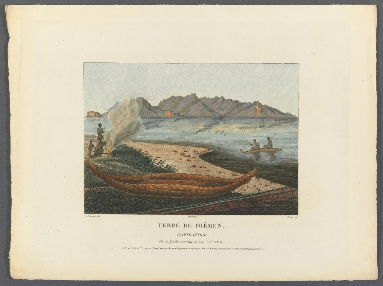 Seafaring: a native canoe or raft. View of the east coast of Schouten Island