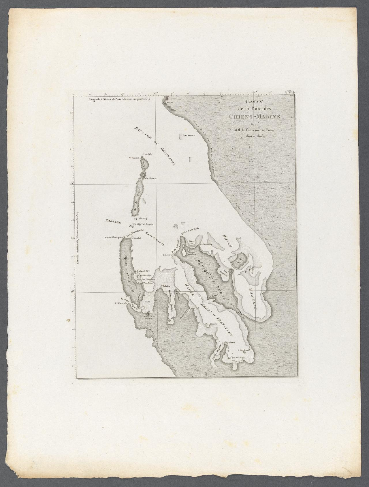 Chart of Shark Bay, Eendracht Land (by Louis Freycinet and Faure, 1801 and 1803)