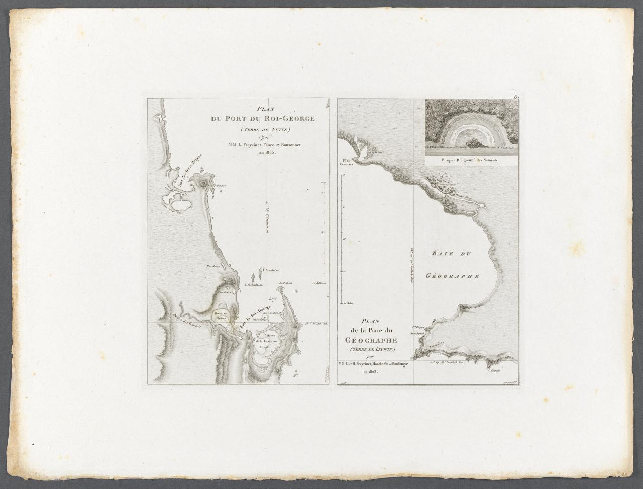 Plan of King George Sound, Nuyts Land (by Louis de Freycinet, Faure and Ransonnet, in the year 1803) Plan of Géographe Bay, Leeuwin Land (by Louise and Henri Freycinet, Montbazin and Boullanger, in the year 1803)