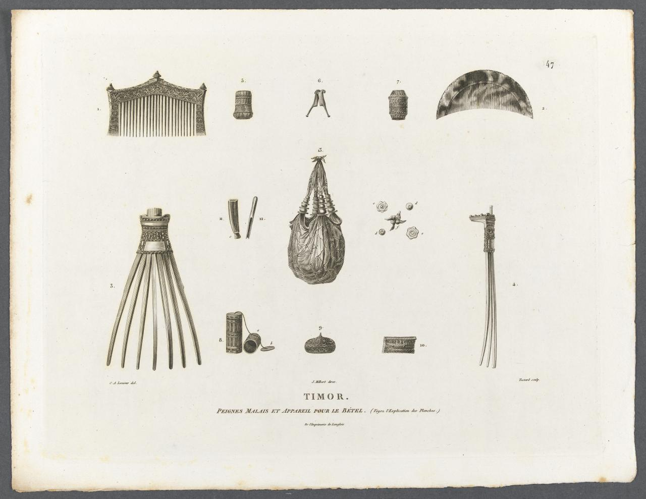 Malay combs and various utensils for betel users