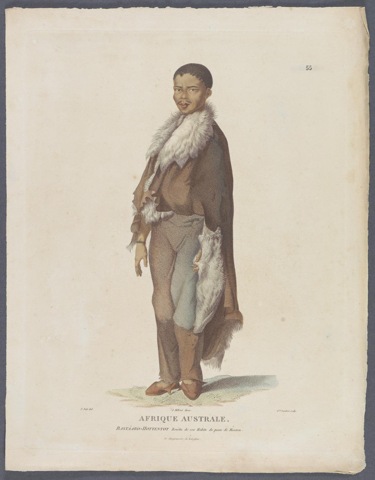 Bastard Hottentot or mixed blood Hottentot, wearing his sheepskin clothes