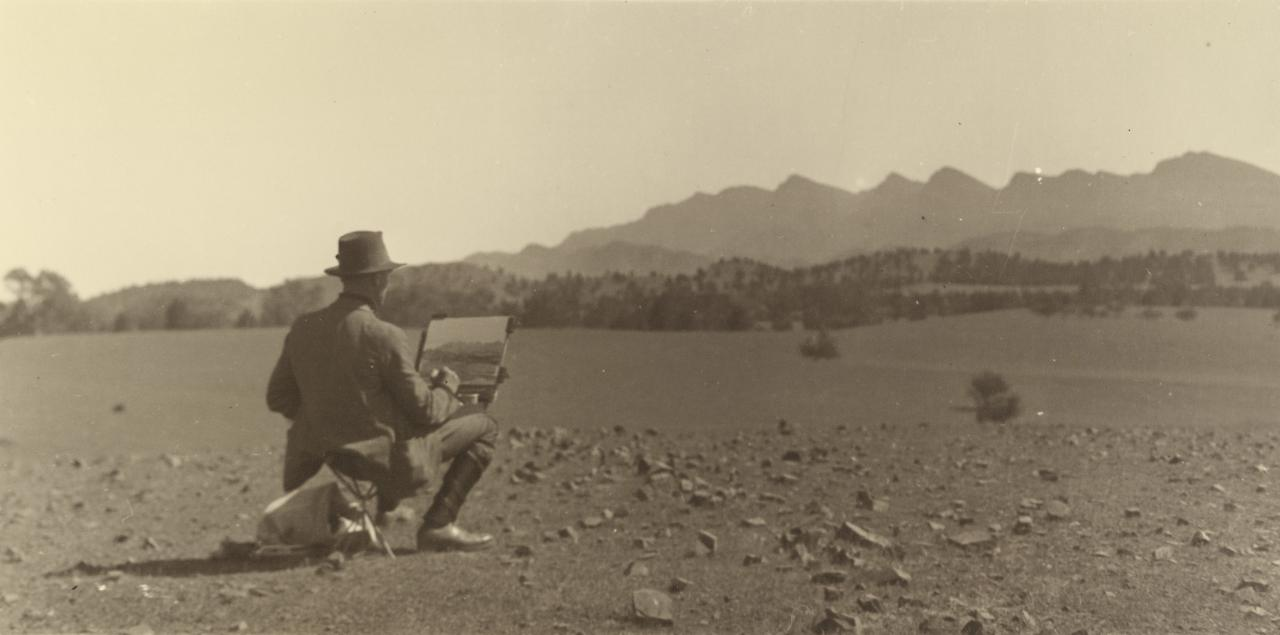 No title (Hans Heysen working in landscape)