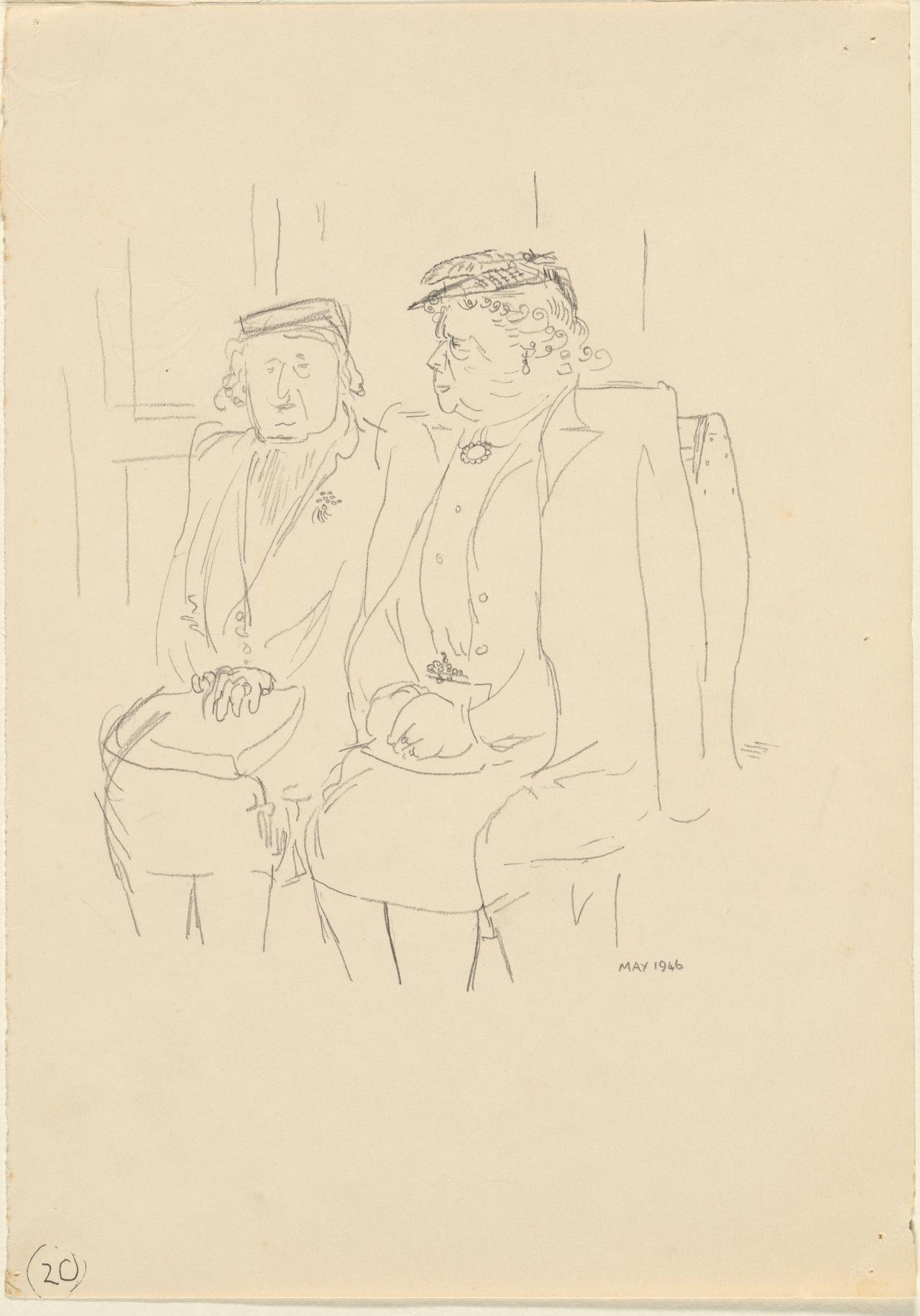 (Two women seated on a tram)