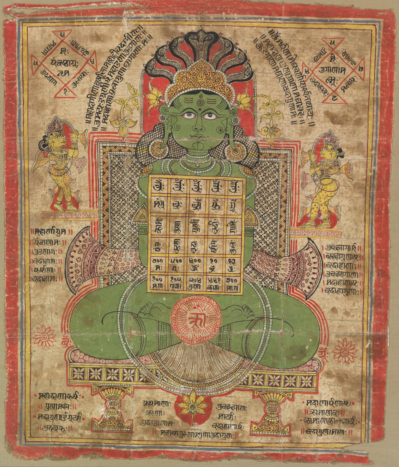 Jain painting of green woman with diagram, Gujarat