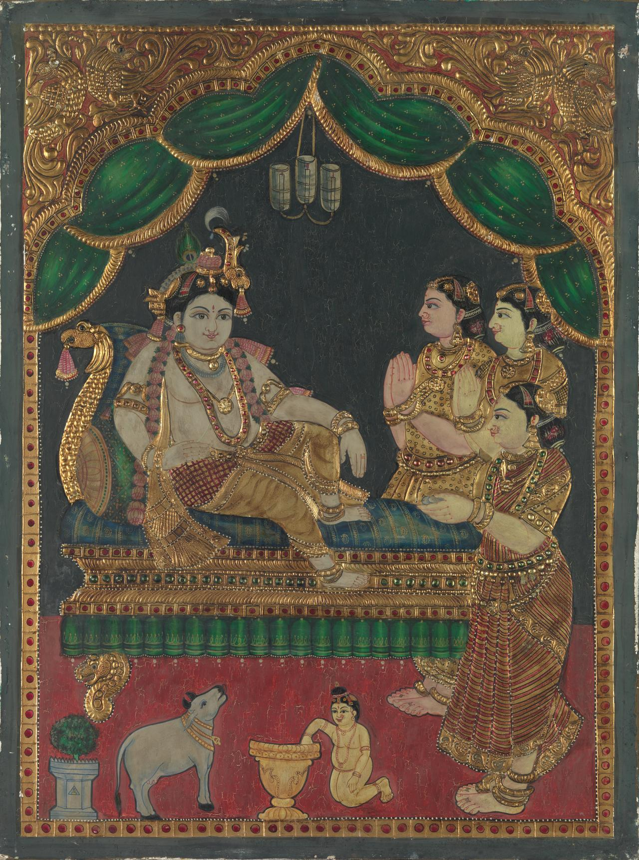 Krishna and three devotees
