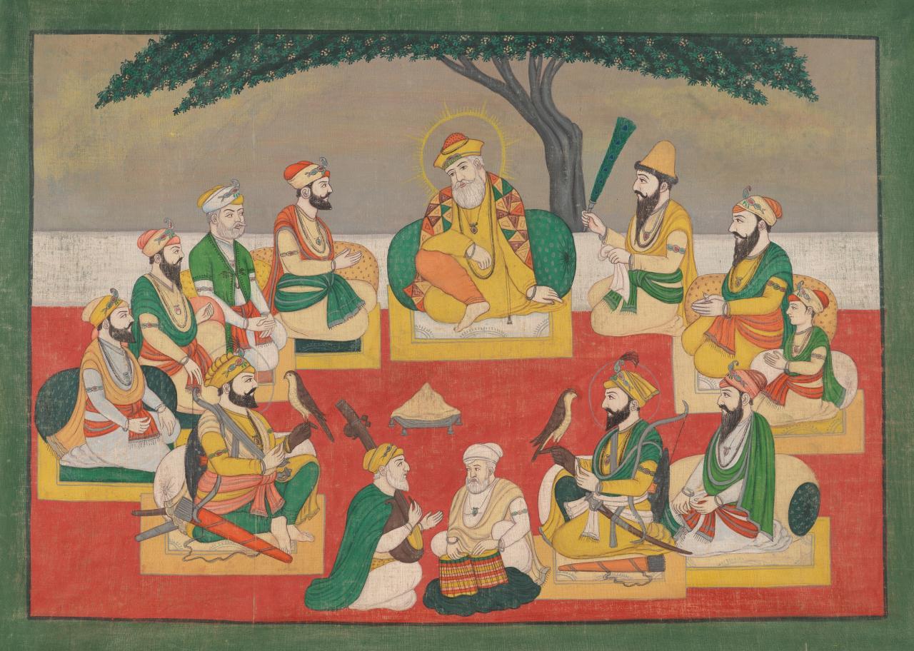 Painting Of Guru Nanak And Sikh Saints Indian Ngv