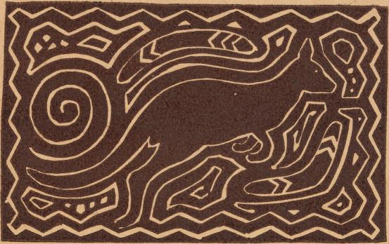 Kangaroo and Aboriginal motifs