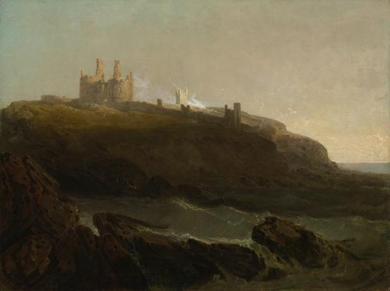 Dunstanborough Castle, north-east coast of Northumberland, sunrise after a squally night