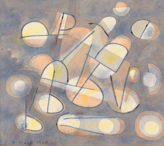 Untitled (Egg-shaped forms, blue/orange ground)