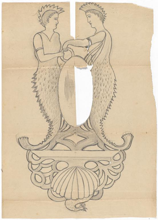 Template for a crest (marine motifs)