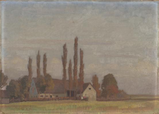 Farmhouse with poplars, Langenpreising, Bavaria