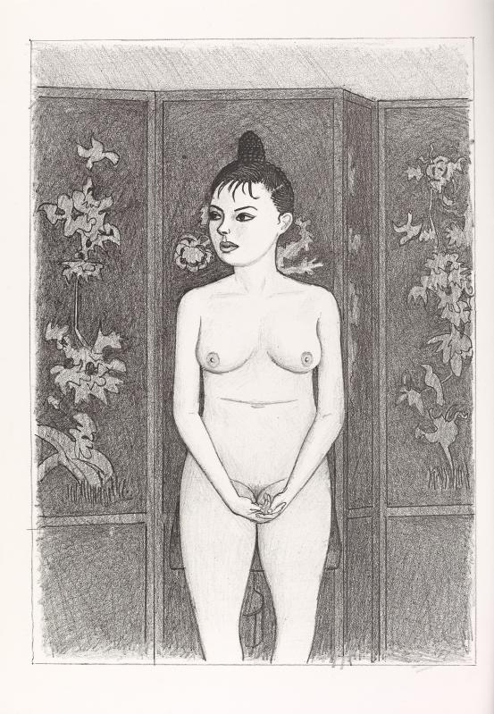 (Nude standing frontal before screen, three-quarter length)