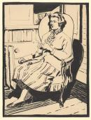 Seated woman winding wool