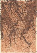 (Untitled) (Black design over tan spatter)