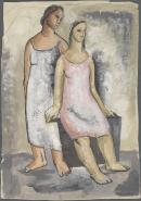 (A standing and a seated woman)