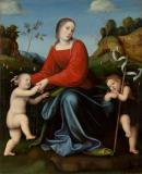 Virgin and Child with the young Saint John in a garden of roses